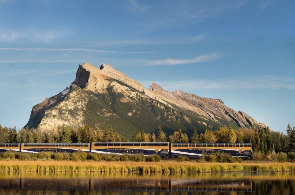 Golden light on the Rocky Mountaineer train